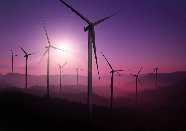 Windkraftanlagen-stromerzeuger in wunderschöner naturlandschaft zur erzeugung erneuerbarer energie