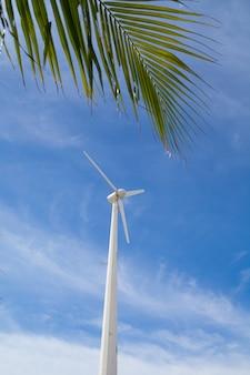 Windmühle in der nähe des strandes für grüne energie