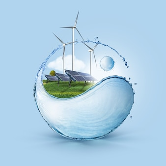Windmühle und sonnenkollektoren auf dem feld in yin yang formen wasserspritzer vor blauem himmelshintergrund. das ökologiekonzept der sauberen welt verwendet nur nachhaltige grüne energie.