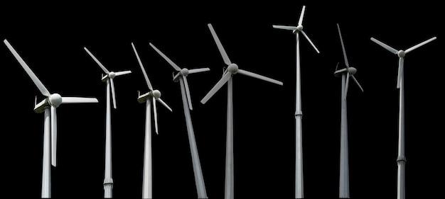 Windmühlen auf schwarzem hintergrund