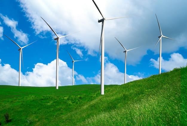 Windturbinenpark in der schönen naturlandschaft.
