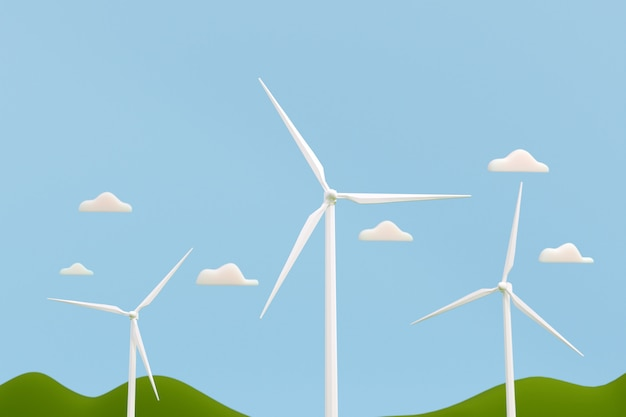 Windturbinenpark, sauberes elektrisches energiekonzept, 3d-illustration.