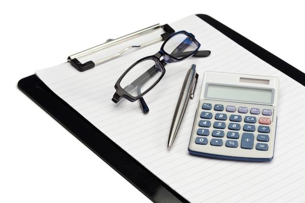 Winkelblock, stift, brille und taschenrechner