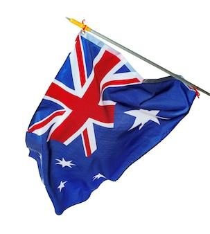 Winken nationalflagge von australien lokalisiert auf weißem hintergrund
