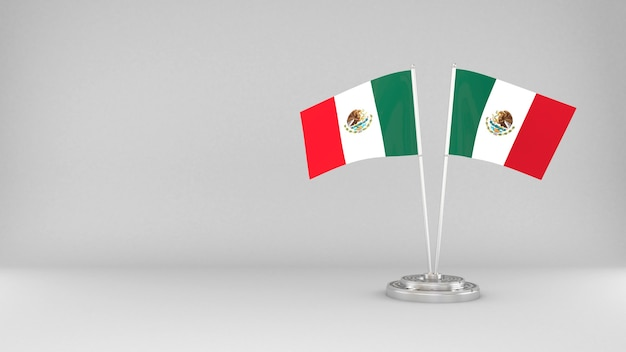 Winkende flagge von mexiko 3d rendern hintergrund