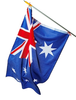 Winkende nationalflagge von australien lokalisiert auf weiß