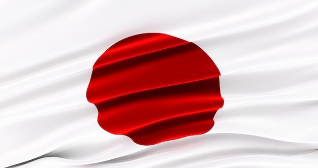 Winkende stoffflagge von japan, seidenflagge von japan