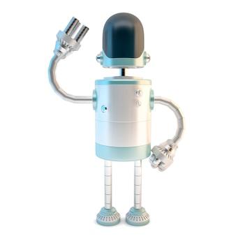 Winkender roboter. 3d-darstellung