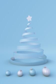 Winter 3d xmas studio festliches neujahr hintergrund weihnachtsbaum und kugeln urlaub vorlage