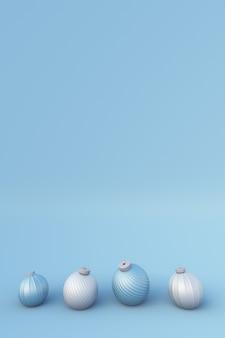 Winter 3d zusammensetzung neujahr hintergrund mit weißen und blauen weihnachtskugeln urlaub vorlage