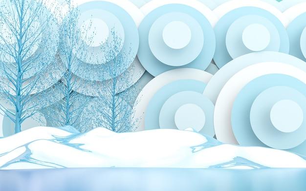 Winter abstrakter kreis und blätter premium-landschaftshintergrund 3d-rendering