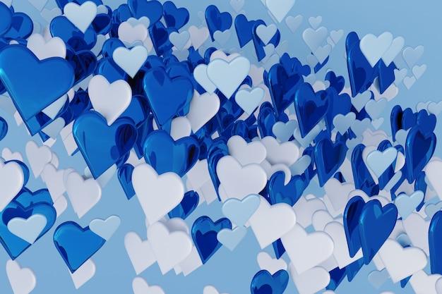 Winter blau und weiß 3d abstrakter hintergrund mit viel herzform design für st. valentine