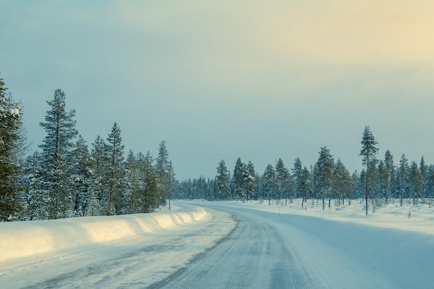 Winter finnland. seltener nordwald und viel schnee. leere autobahn mit drifts an der seite. schwaches sonnenlicht