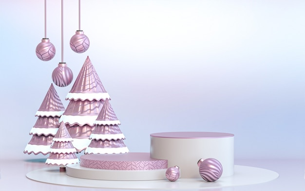 Winter fröhlicher weihnachtsbaum mit luxus-podest-display für die produktpräsentation 3d-rendering