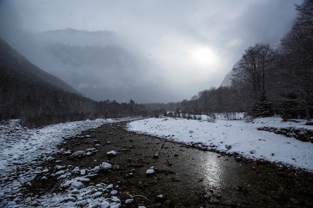 Winter im nationalpark, pyrenäen, spanien
