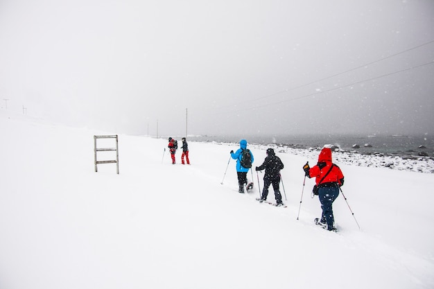 Winter in bleik beach, lofoten, nordnorwegen.