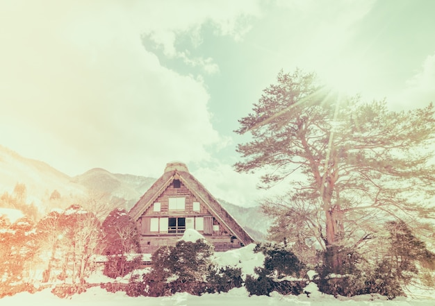 Winter shirakawago mit fallendem schnee, japan (gefiltert imag