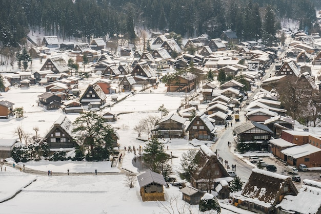 Winter shirakawago mit fallendem schnee, japan