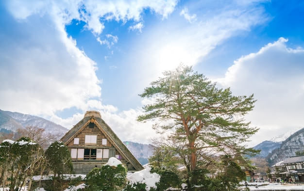 Winter shirakawago mit fallendem schnee, japan
