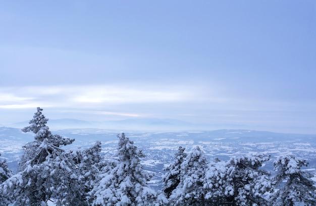 Winteransicht vom gipfel des berges