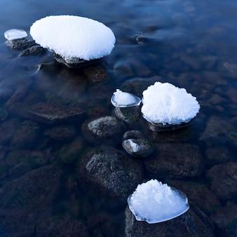 Winterdämmerung am fluss