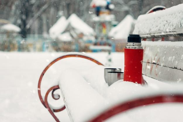 Winterferien, heißgetränkekonzept.