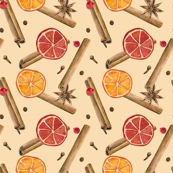 Wintergewürze. zimtschnecke, orangen, sternanis, nelke, pfeffer. nahtloses muster. hand gezeichnete aquarellillustration.