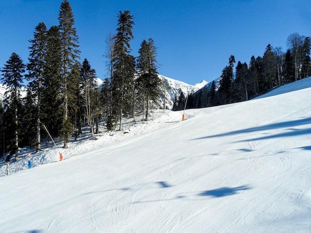 Winterlandschaft des skiorts krasnaja poljana.