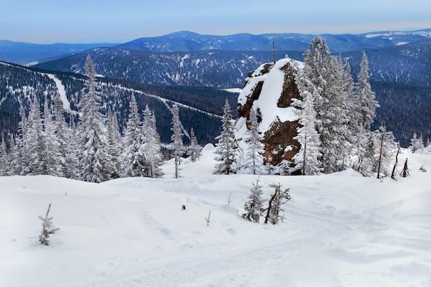 Winterlandschaft im altai-gebirge.