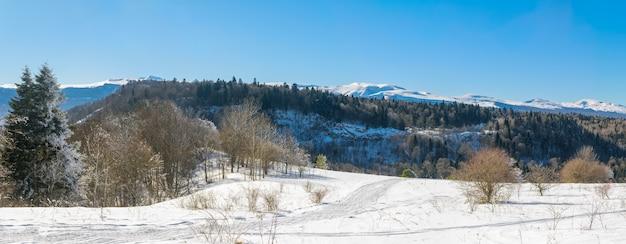 Winterlandschaft in den bergen ein sonniger tag