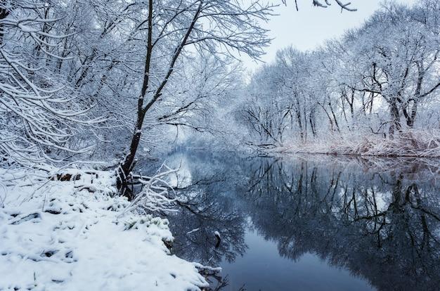 Winterlandschaft mit fluss im wald.