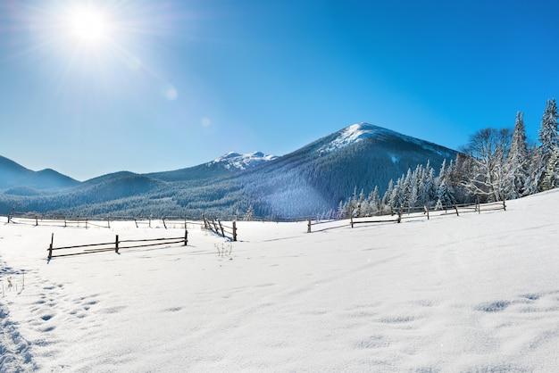 Winterlandschaft mit weißem schnee auf dem feld mit zaun, blauem himmel und strahlender sonne