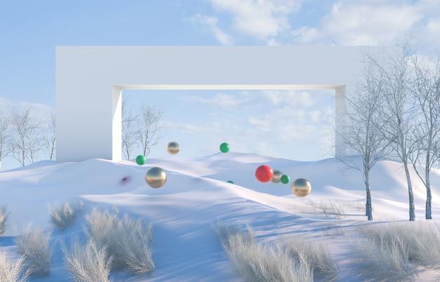 Winterlandschaftsszene mit geometrischen kugeln