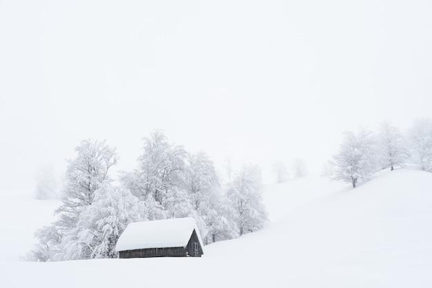 Wintermärchenland mit einem holzhaus in den bergen. verschneite weihnachten in einem bergdorf. hügel und bäume im schnee