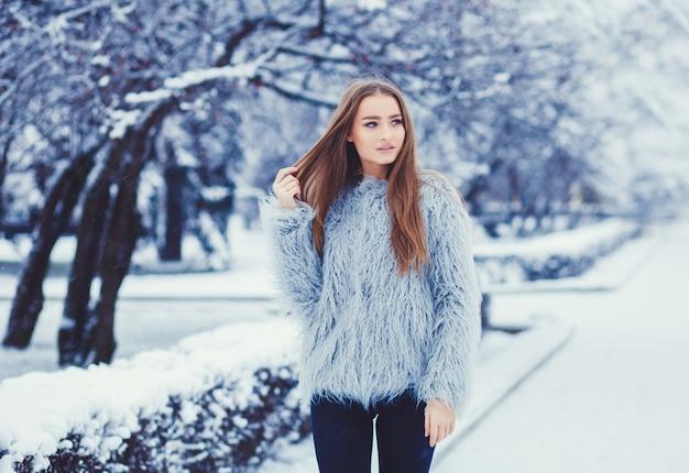 Winterporträt des jungen schönen brunette