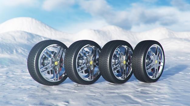 Winterreifen auf blauem himmelhintergrund, schneefall und rutschiger winterstraße. verkehrssicherheit im winterkonzept