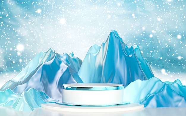 Wintersaison luxus podiumsbühne für produktpräsentation 3d-rendering