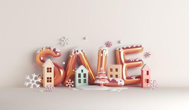 Winterschlussverkauf-dekorationshintergrund mit hausbauschneeflocken