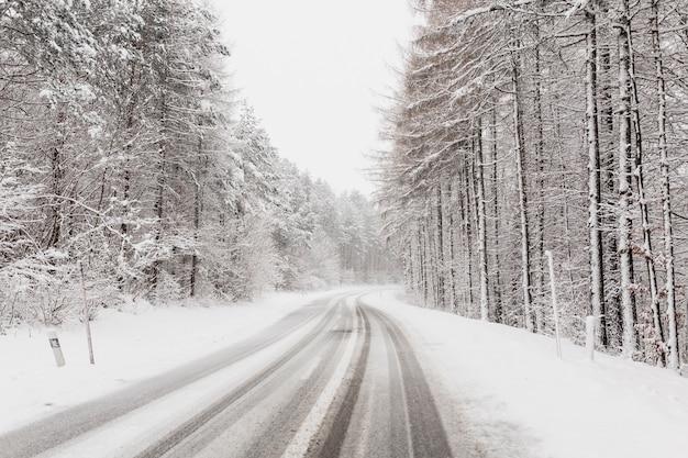 Winterstraße im klumpenwald