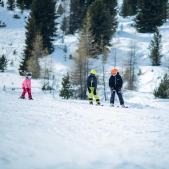 Winterszene: eine gruppe von kindern lernt skifahren