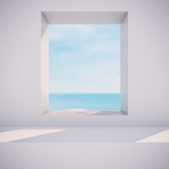 Winterszene mit geometrischen formen, kreisrahmen. seeblick. 3d render hintergrund.