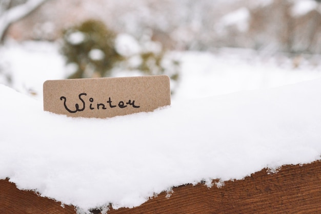Wintertext auf einer karte. winterpark.