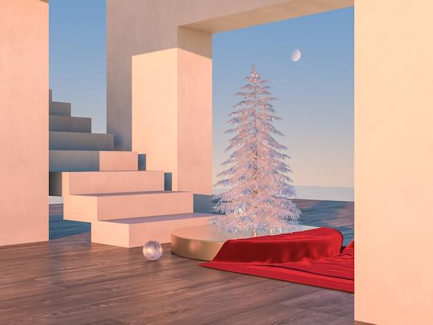 Winterweihnachtsszene mit geometrischen formen im natürlichen tageslicht