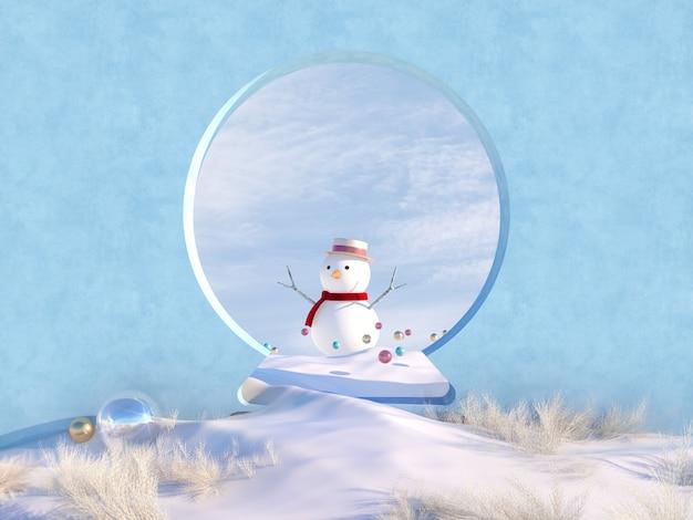 Winterweihnachtsszene mit schneekugelformrahmen und schneemann.