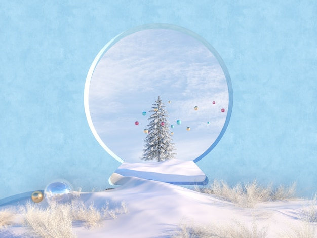 Winterweihnachtsszene mit schneekugelformrahmen und weihnachtsbaum.