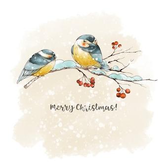 Winterweihnachtsweinlese-grußkarte mit rustikalen zweigen, roten beeren, vogelmeise. waldmärchen-feiertagsillustration