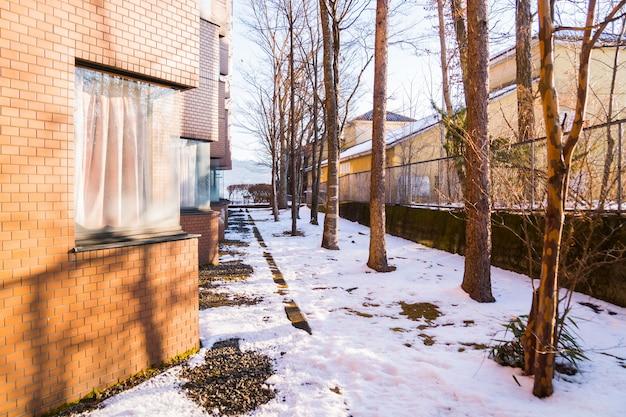 Winterwetter, schöne schnee naturlandschaft mit der sonne, die zu hause durch bäume im hotel und erholungsort von yamanakako, yamanashi japan scheint. kälteste jahreszeit im konzept der polaren und gemäßigten zonen