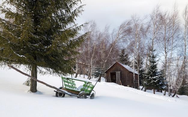 Winziges haus und hölzerner pferdewagen auf berg bei schneebedecktem wetter
