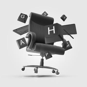 Wir stellen ein grafikdesigner-poster ein, einen stuhl, auf dem tastaturbuchstaben herumschweben