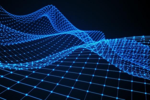 Wireframe - ein dreidimensionales skelettmodell, in dem nur linien und scheitelpunkte in 3d dargestellt werden